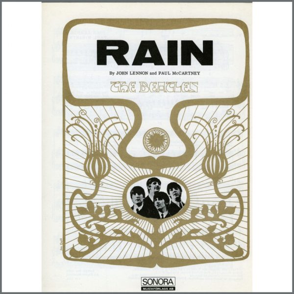 B25588 - The Beatles 1966 Rain Sonora Sheet Music (Scandinavia)