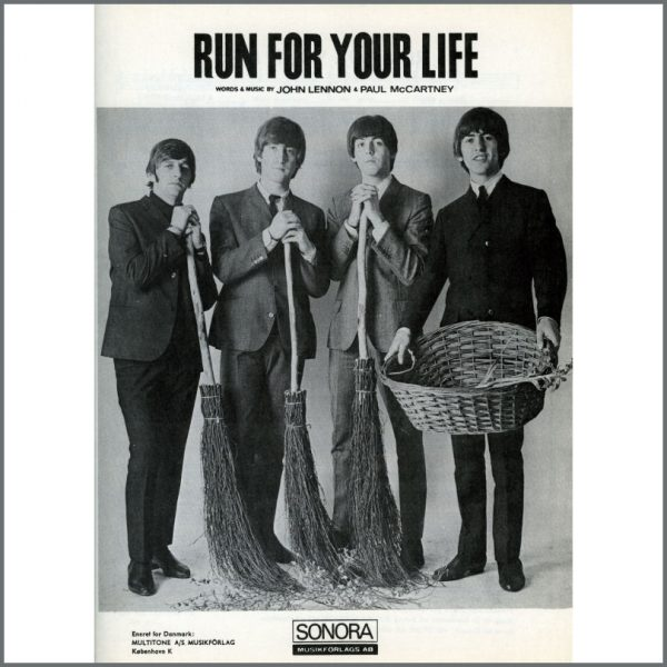 B25606 - The Beatles 1965 Run For Your Life Sonora Sheet Music (Scandinavia)