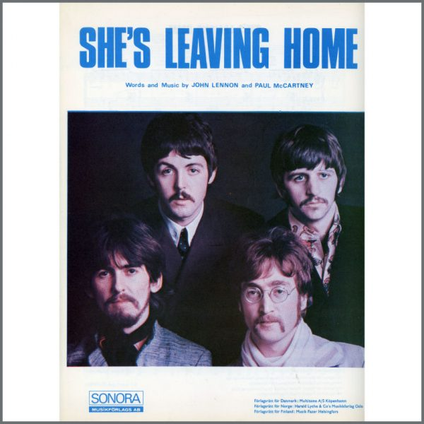 B25570 - The Beatles 1967 She's Leaving Home Sonora Sheet Music (Scandinavia)