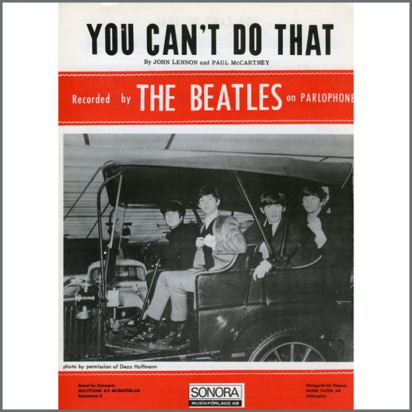 B25598 - The Beatles 1964 You Can't Do That Sonora Sheet Music (Scandinavia)