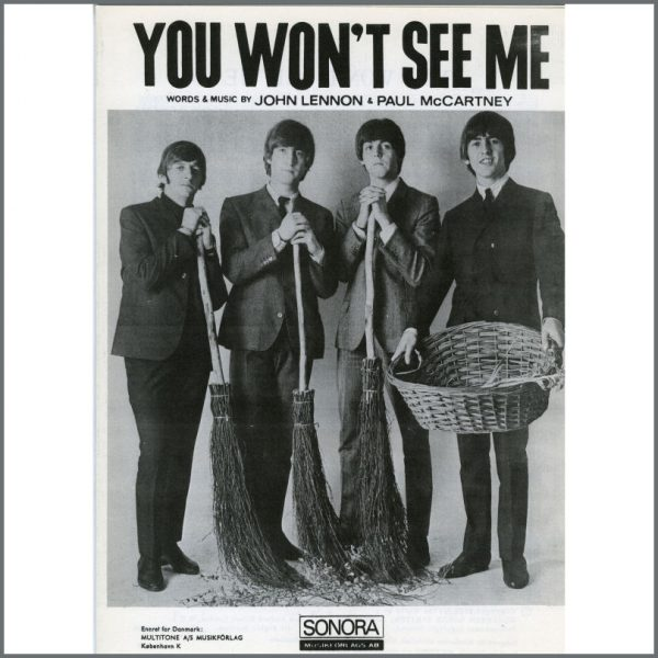 B25599 - The Beatles 1965 You Won't See Me Sonora Sheet Music (Scandinavia)
