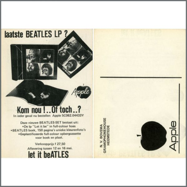B21546 - Beatles Let It Be Apple Dutch Promo Card (Holland)