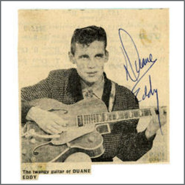 B21894 - Duane Eddy 1960s Signed Newspaper Picture (UK)