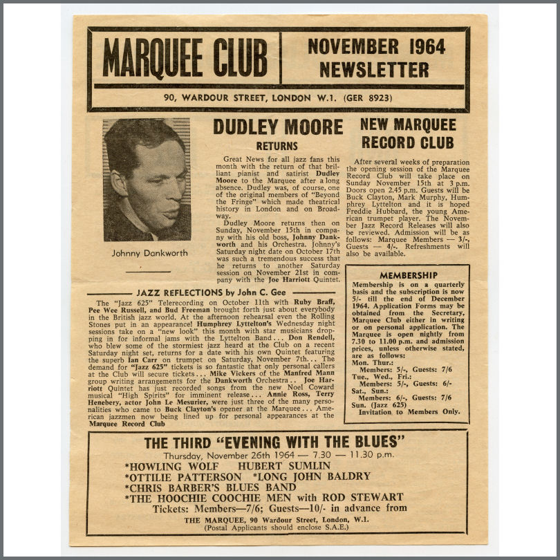 B26603 - The Moody Blues / Manfred Mann 1964 Marquee Club Promotional  Handbill (UK)