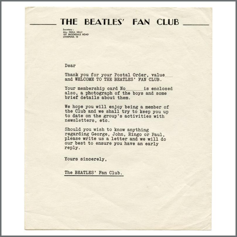 B30098 - The Beatles 1962/1963 Unused Fan Club Welcome Letter (UK)