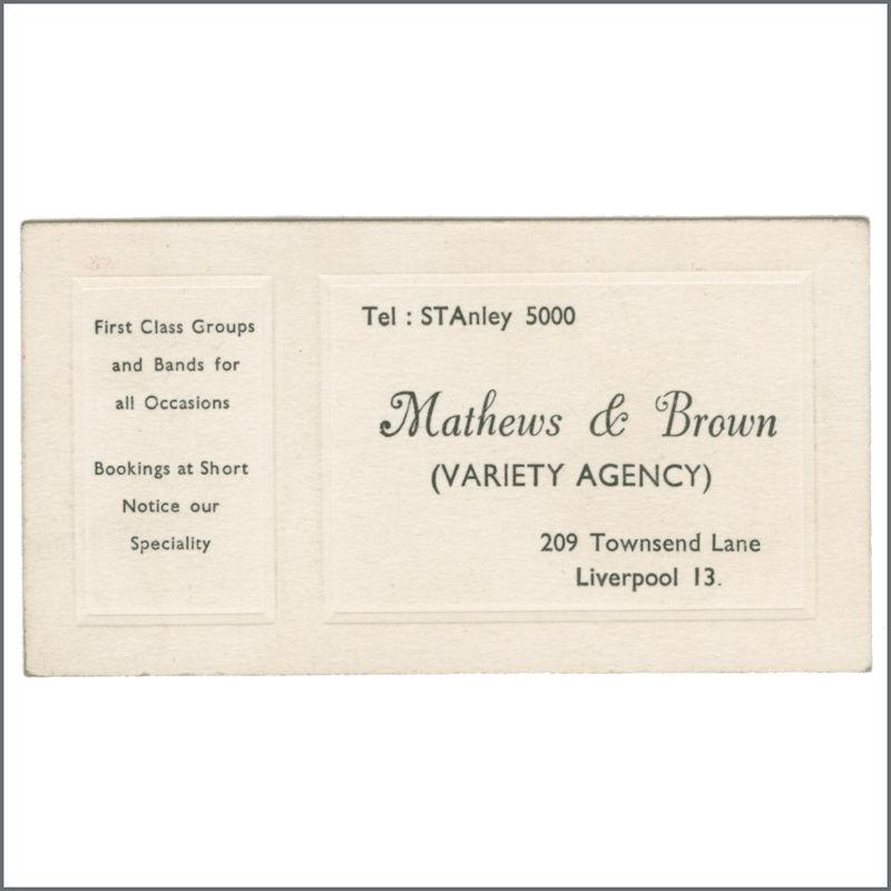 b31136  mathews  brown 1960s business card uk  tracks