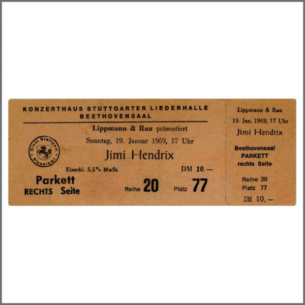 Jimi Hendrix Unused Stuttgart Concert Ticket